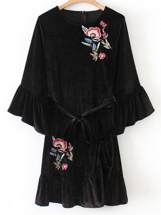 Robe Courte Brodée Florale à Volants en Velours - Noir S