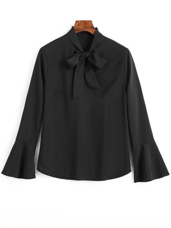 latest Slit Flare Sleeve Bow Tie Blouse - BLACK XL