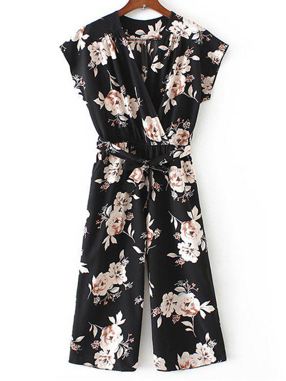 buy Crossed Front Belted Floral Jumpsuit - BLACK S