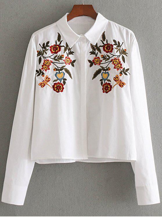 women's Hidden Button Floral Embroidered  Shirt - WHITE M