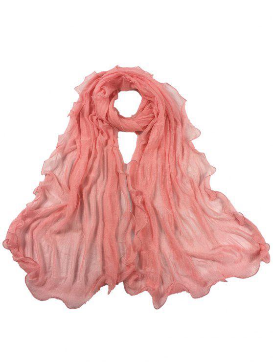 Bufanda Larga de Seda de Arruga Clásica - Peony rosado