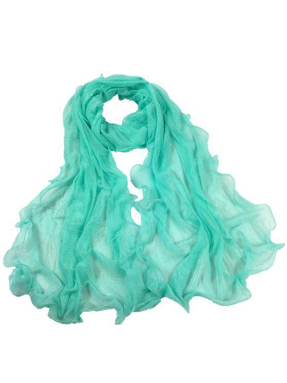 Bufanda Larga de Seda de Arruga Clásica - Azul Claro