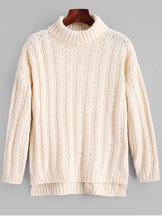 decd02dae4a 35% OFF] 2019 Turtleneck Side Slit Chunky Sweater In APRICOT | ZAFUL
