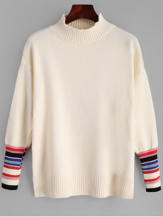 women High Neck Side Slit Striped Sweater - LIGHT APRICOT ONE SIZE