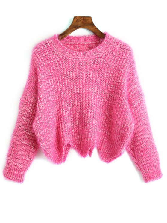 women's Zigzag Hem Chunky Sweater - SANGRIA ONE SIZE
