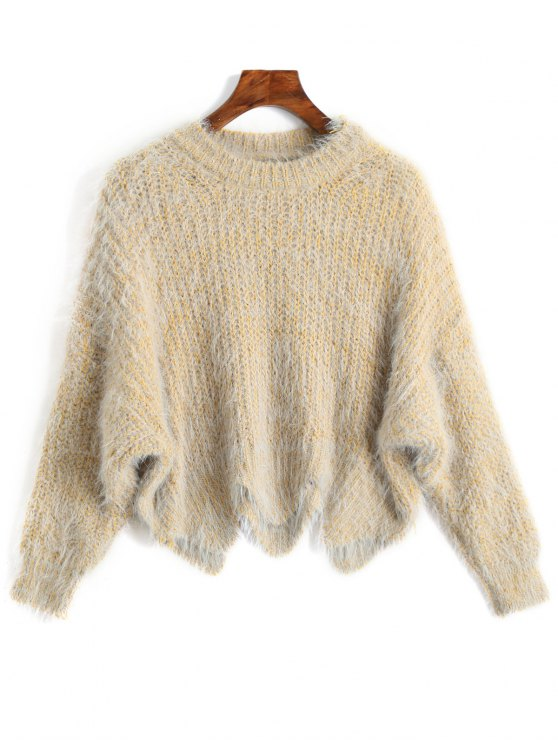 ladies Zigzag Hem Chunky Sweater - LIGHT YELLOW ONE SIZE
