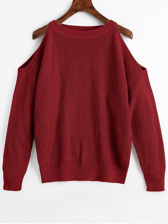 best Crew Neck Cold Shoulder Pullover Sweater - WINE RED ONE SIZE
