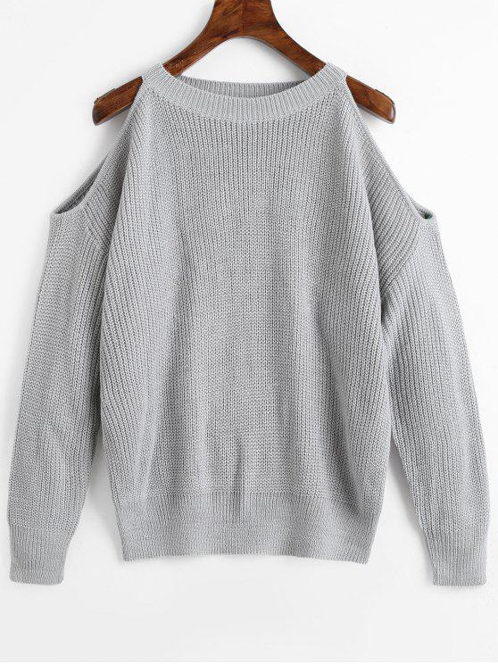 new Crew Neck Cold Shoulder Pullover Sweater - GRAY ONE SIZE