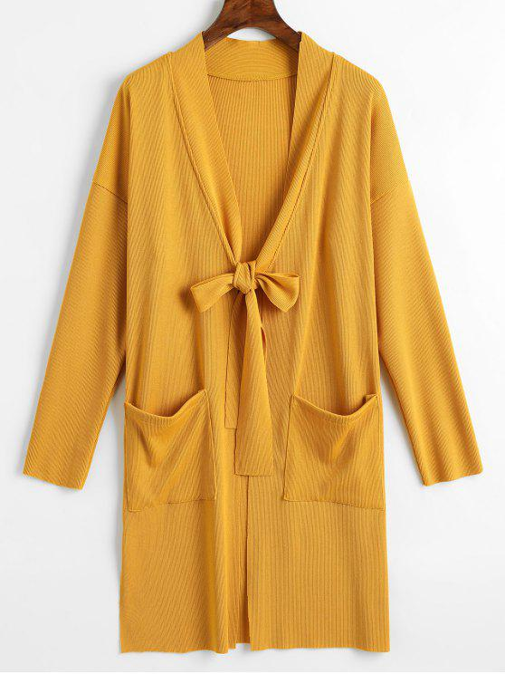outfit Side Slit Tied Bowknot Longline Cardigan - YELLOW L