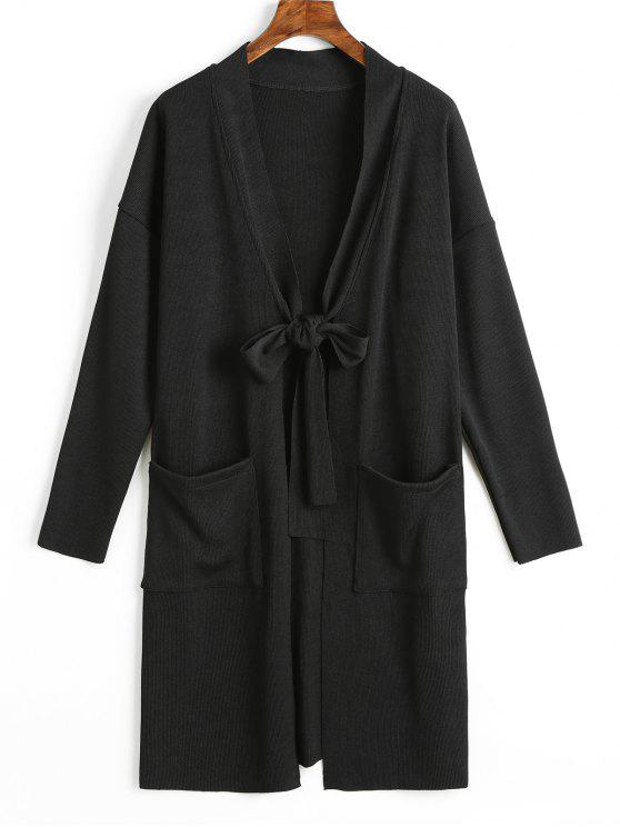 shop Side Slit Tied Bowknot Longline Cardigan - BLACK M