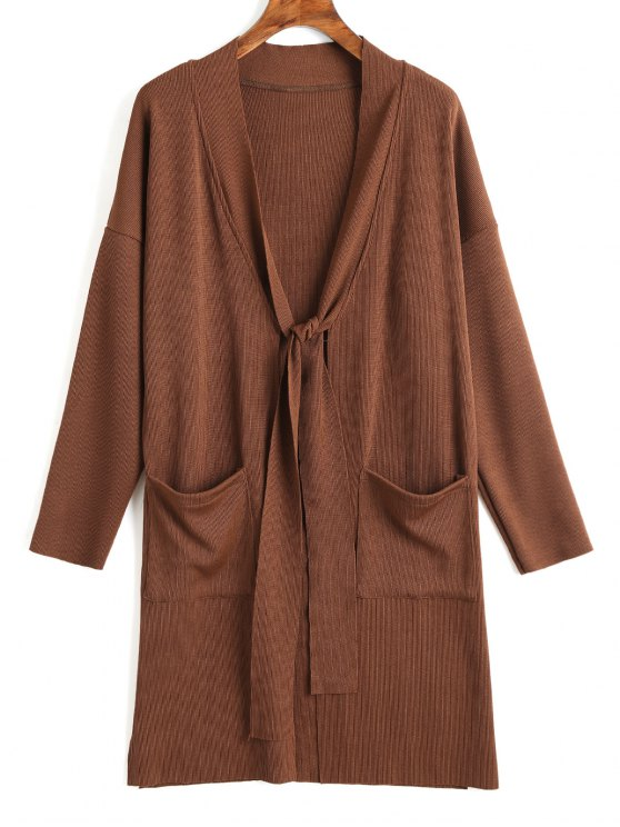 latest Side Slit Tied Bowknot Longline Cardigan - DEEP BROWN M