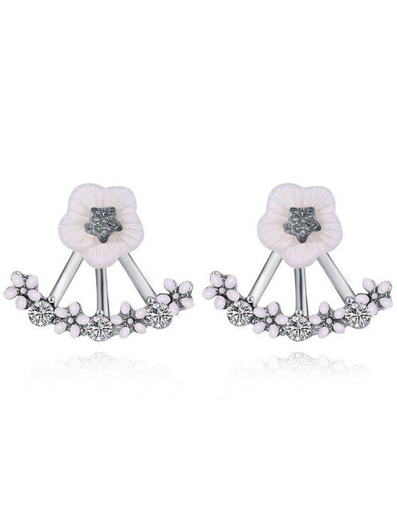 sale Floral Faux Crystal Hollow Out Stud Earrings - WHITE+SILVER+ROSE GOLD