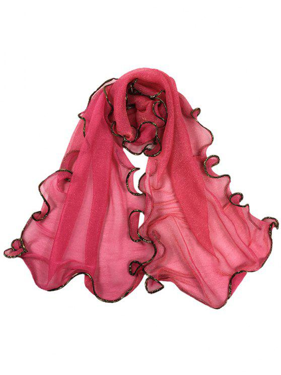 online Golden Edge Decoration Silky Long Shawl Scarf - WATERMELON RED