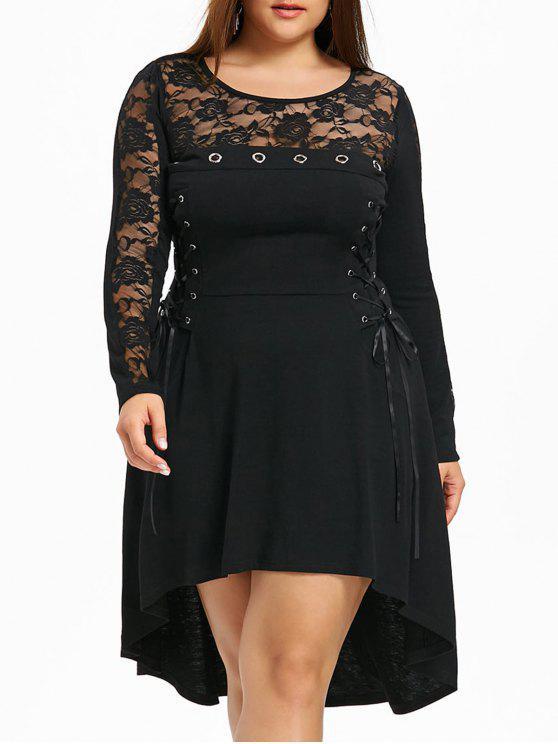 32% OFF] 2019 Plus Size Lace Trim Dip Hem Gothic Dress In BLACK | ZAFUL