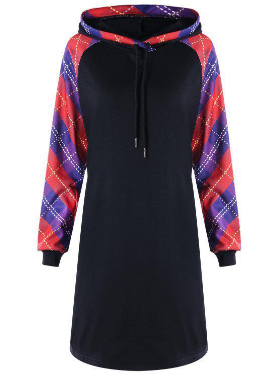 1a31bedd38c 2019 Plus Size Plaid Raglan Sleeve Hooded Dress In BLACK 3XL