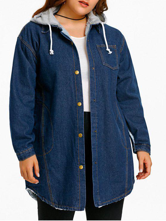 Cappotto Plus Size Cappuccio Cappuccio Denim - Blu Una Taglia