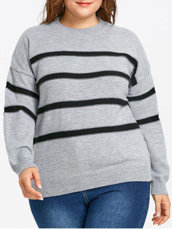 Suéter con cuello redondo a rayas con hombros caídos - Gris 5XL