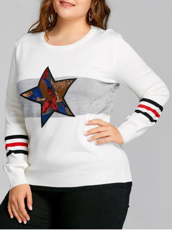 Plus Size Striped Sequin Star Sweater - Branco Um Tamanho