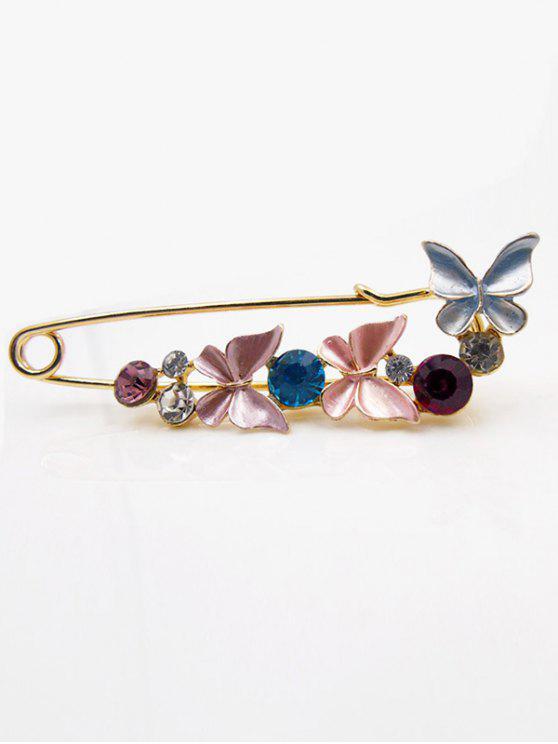 Gefälschte Diamant Schmetterling Brosche - Rosa