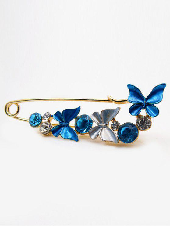 women's Fake Diamond Butterfly Brooch - BLUE