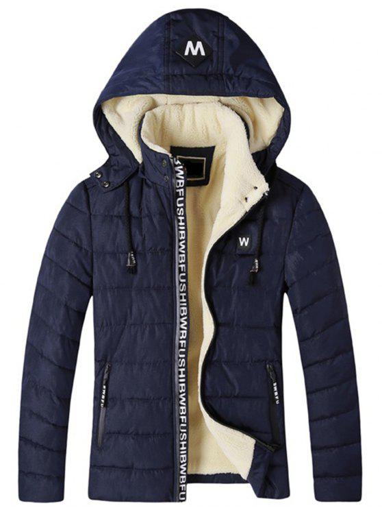 Giacca imbottita con cappuccio in pile con zip e cappuccio rimovibile - Cadetto blu 2XL