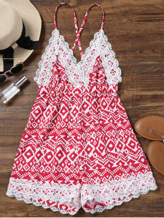 ladies Lace Panel Criss Cross Backless Romper - RED S