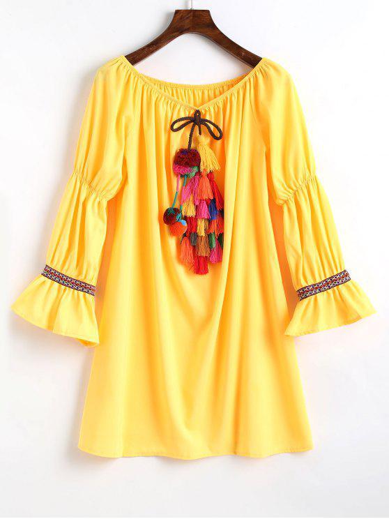Vestido con adornos de manga flare hombro - Amarillo XL
