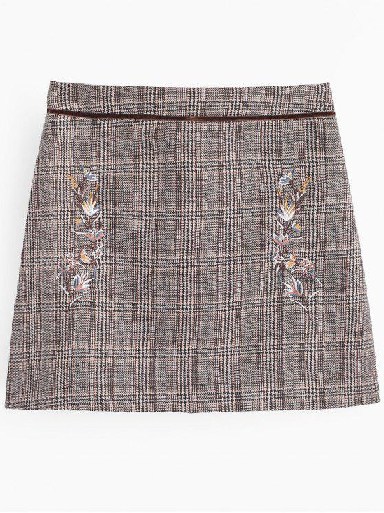 buy Floral Patched A Line Checked Skirt - CHECKED 2XL