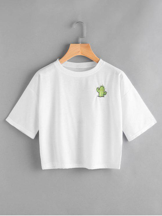 affordable Back Logo Insert Embrioidered Top - WHITE L