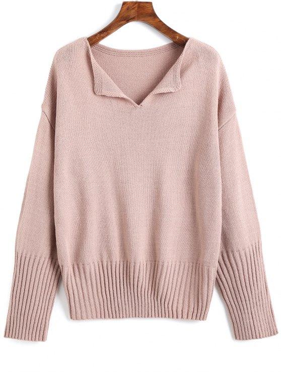 Drop Shoulder V-Ausschnitt Plain Sweater - pink lila Eine Größe