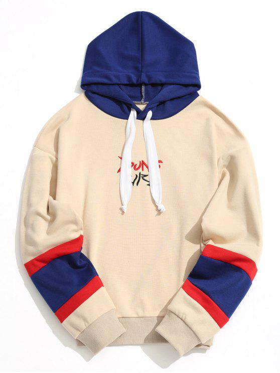 hot Color Block Young Girl Embroidered Hoodie - APRICOT S