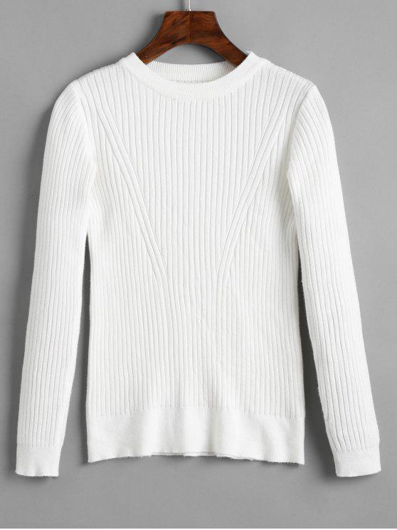unique Crew Neck Ribbed Knitted Top - WHITE ONE SIZE