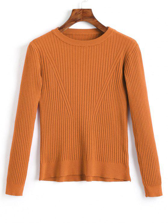 sale Crew Neck Ribbed Knitted Top - LIGHT BROWN ONE SIZE