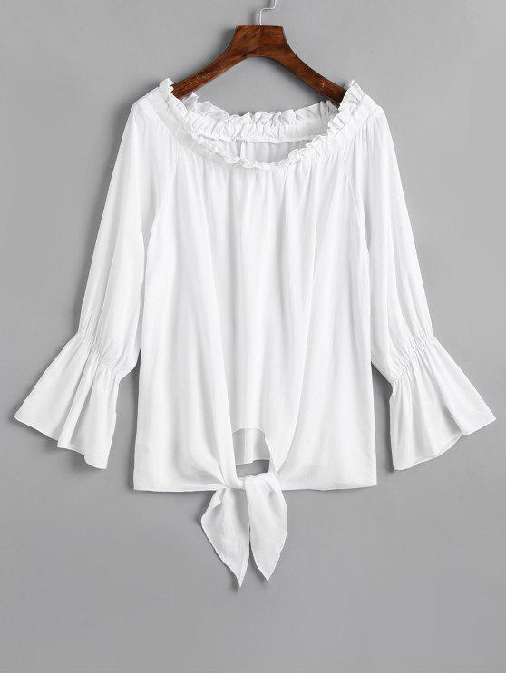 Off Shoulder Flare Sleeve Tied Hem Blouse - Branco L