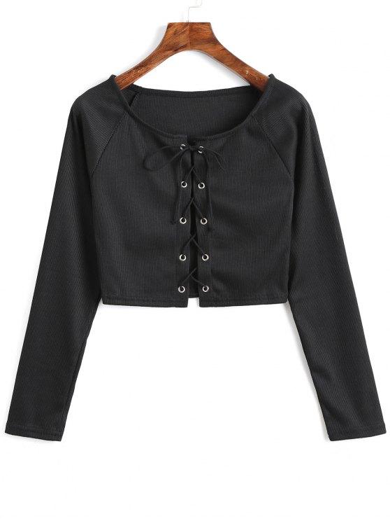 Camiseta con cordones delanteros con cordones - Negro XL