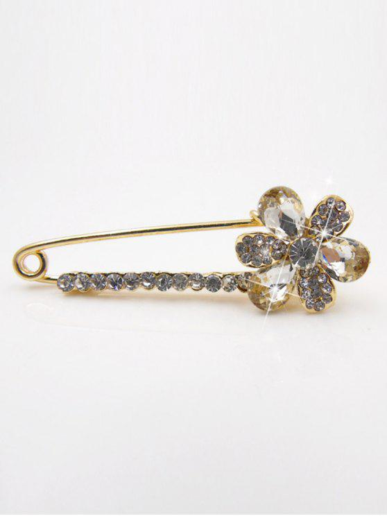 Faux Crystal Embellished Broche floral - Blanco