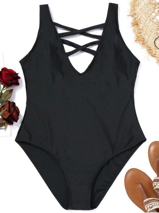 shop Criss-cross Plus Size Swimsuit - BLACK XL