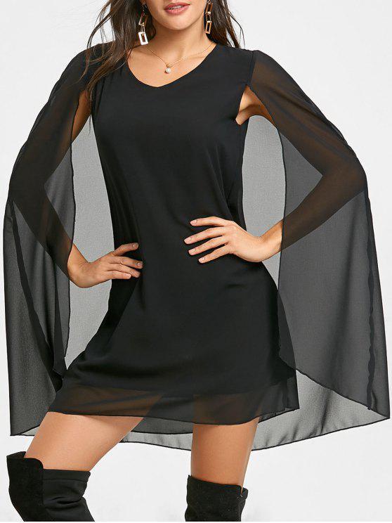 A-line Chiffon Cape Dress - Preto XL
