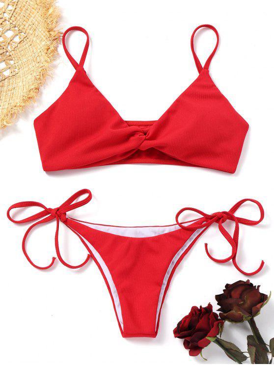 Twist Ribbed Bikini Set - Rojo S