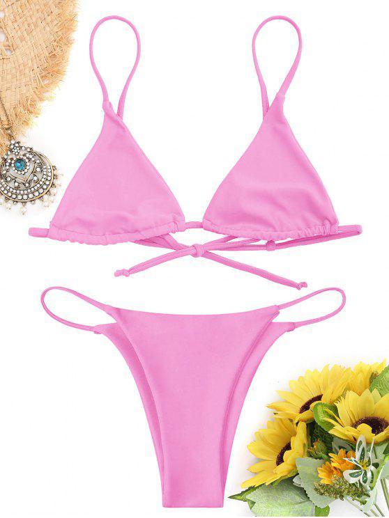 fancy Bralette Thong String Bikini Set - PINK L