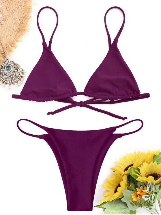 affordable Bralette Thong String Bikini Set - PURPLISH RED L