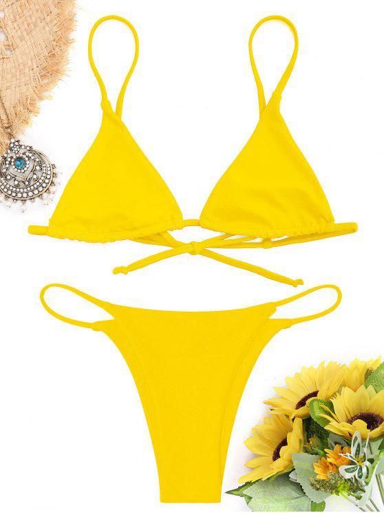 shops Bralette Thong String Bikini Set - YELLOW M