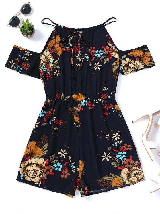 fancy Cami Floral Cold Shoulder Romper - PURPLISH BLUE S