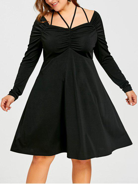 2019 Plus Size Lace Up Ruched Empire Waist Dress In BLACK 4XL | ZAFUL