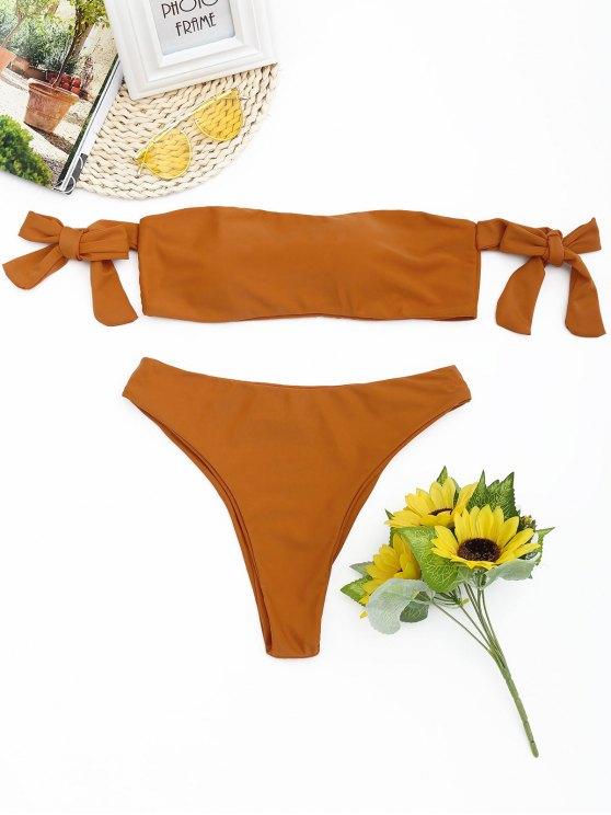 Hohe Schlitz Schulterfreie Bikini Set - Orange S