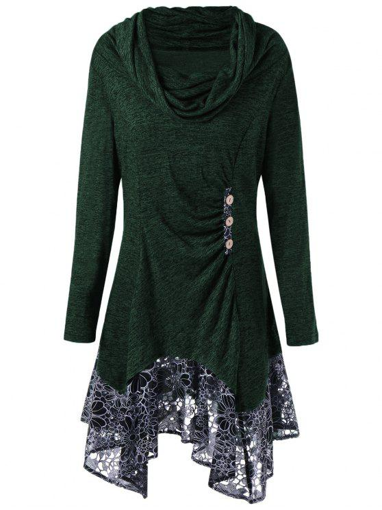 fashion Plus Size Cowl Neck Floral Longline Top - BLACKISH GREEN 2XL