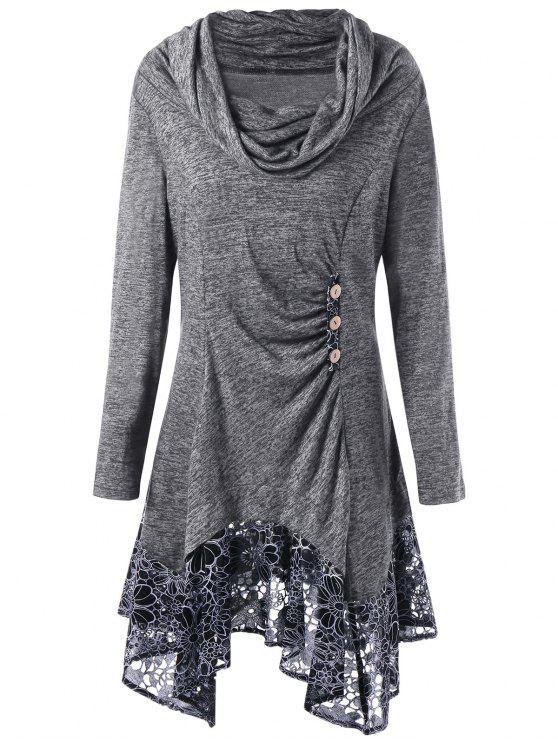 sale Plus Size Cowl Neck Floral Longline Top - GRAY XL