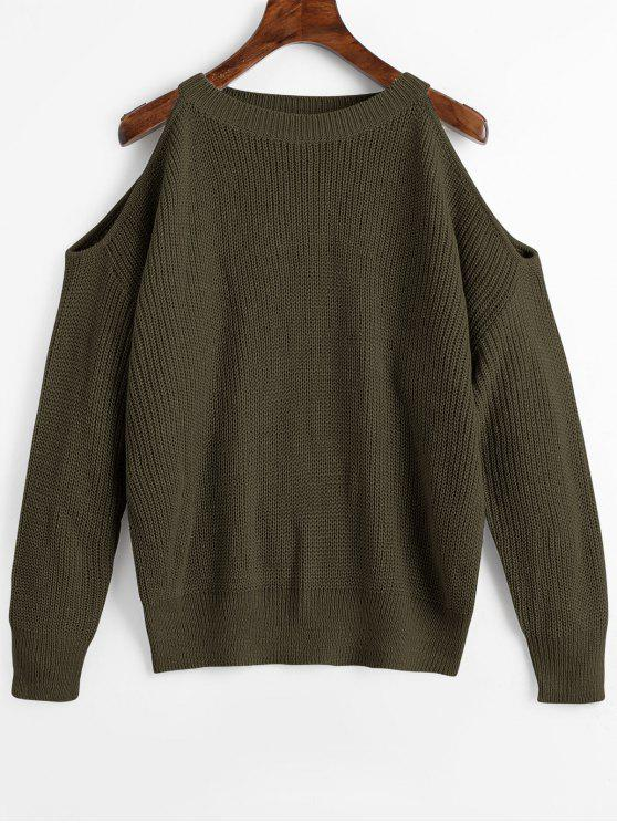 online Crew Neck Cold Shoulder Pullover Sweater - ARMY GREEN ONE SIZE