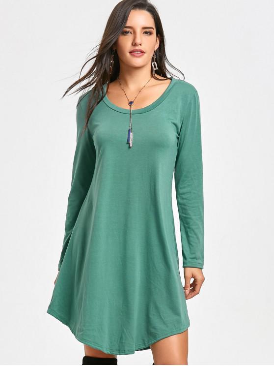 Vestito A Tunica Stile T-Shirt Con Maniche Lunghe - verde S