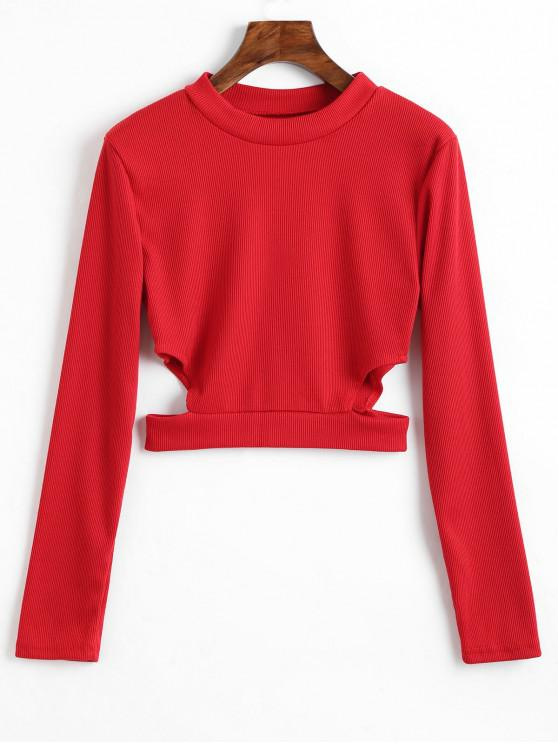 unique Cut Out Ribbed Crop Tee - RED L